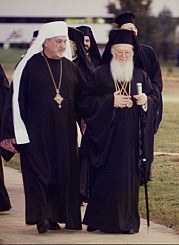 Procession with Ecumenical Patriarch Bartholomew and Metropolitan Constantine during the visit of His All-Holiness to the Metropolia Center. October 27, 1997.